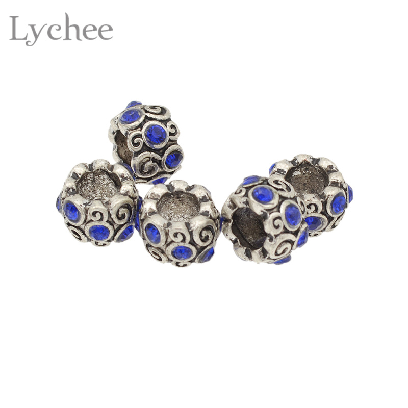Lychee 5pcs/lot Vintage Metal Multi Color Rhinestone Hair Braid Dread Dreadlock Beads Cuffs Clips Headwear Accessories
