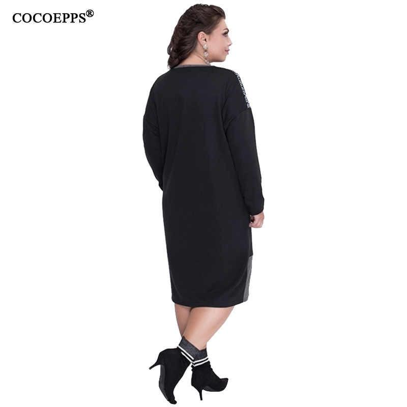 COCOEPPS Новинка 5XL 6XL Осень Зима Большие размеры женские повседневные теплые платья с длинным рукавом большие размеры женская одежда 2019 Vestidos