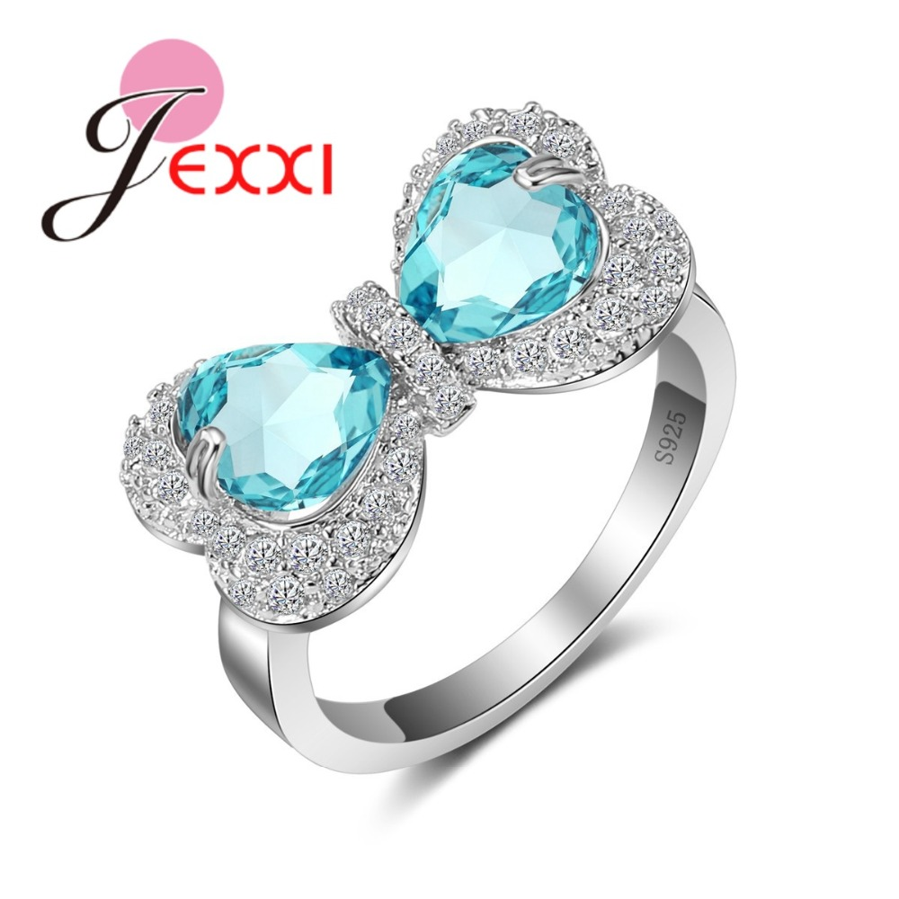 Aliexpress Com Buy Jexxi Cute Bow Tie Blue Cz Stone Ring