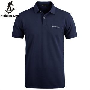 Image 1 - Пионерский лагерь, брендовая одежда, мужская рубашка поло, мужская деловая Повседневная однотонная мужская рубашка поло с коротким рукавом, высокое качество, чистый хлопок