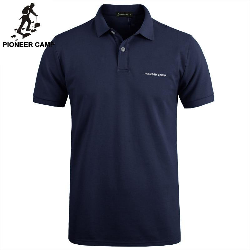 Pioneros campamento ropa de marca de los hombres camisa de Polo de los hombres de negocios casuales de hombre camisa de polo de manga corta de alta calidad de algodón puro