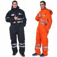 Зимние Рабочие комбинезоны утепленная Спецодежда для мужчин с капюшоном брюки для девочек светоотражающие полосы механик
