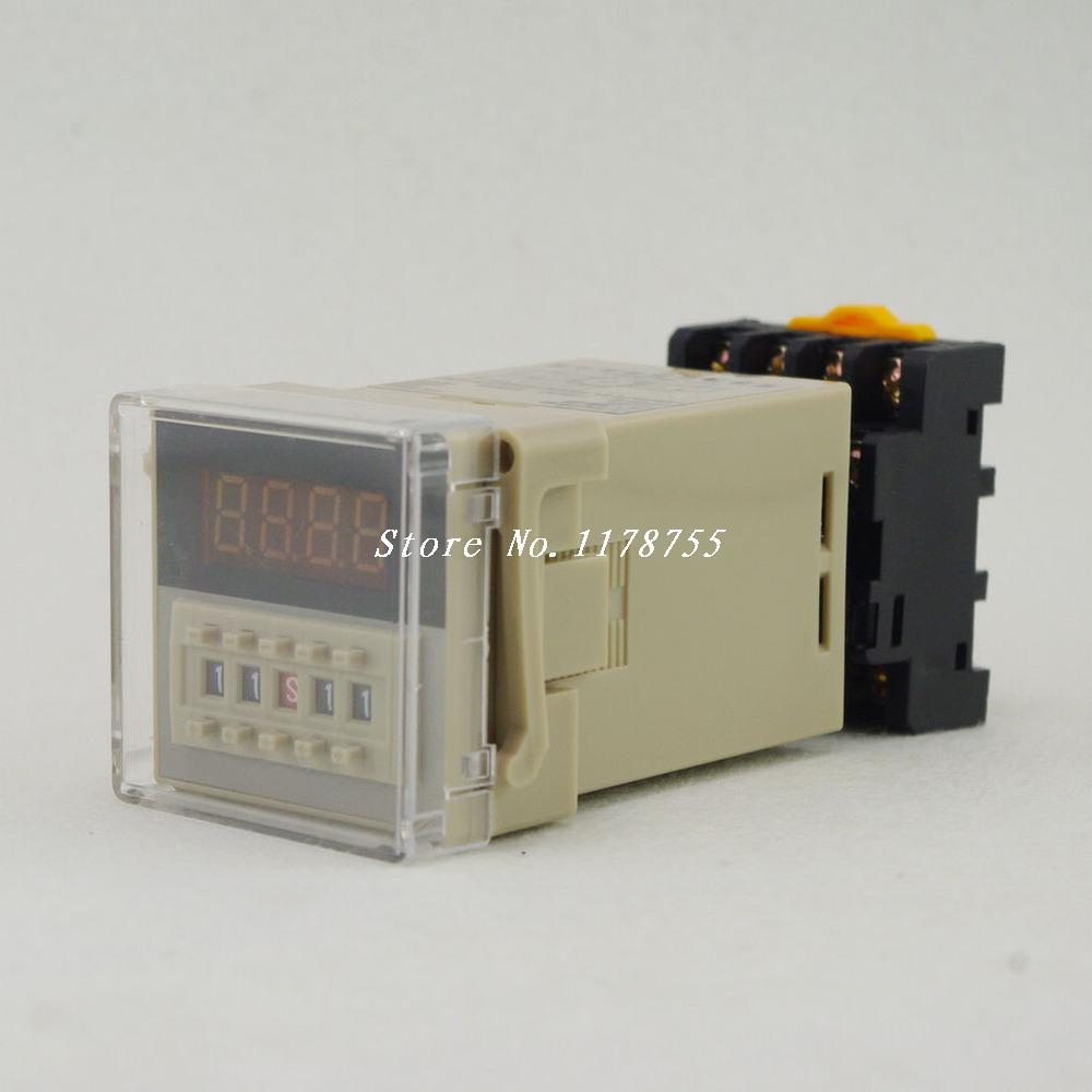 DH48S-AE Digital Timer Relay On Delay 11Pins SPDT Track Surface Mounting 110VAC 220vac digital time delay repeat cycle relay timer 1s 990h led display 8 pin panel installed dh48s s spdt