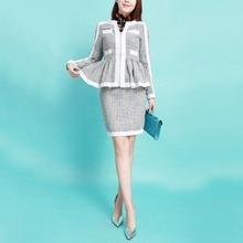 2016 Sring Fashion Contrast Color Vintage Ruffles Long Sleeve Coat+Elegant Slim Above Knee Mini Skirt Women's Jacket Skirt Suits