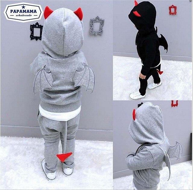 7 Styles 2017 New Autumn boys clothes Casual Long Sleeve Cartoon little devil Hooded hoodies + pants boys clothing sets 2Pcs set