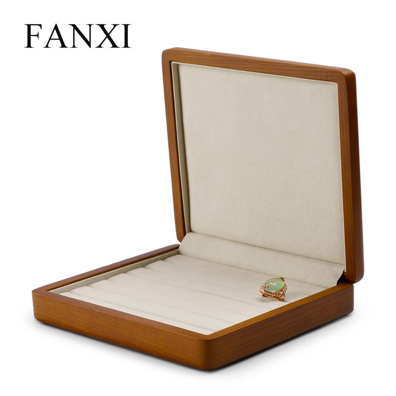 FANXI Jewelry Display Solid Wood Ring Display Case With Microfiber Jewelry Box Stand Ring Organizer For Showcaee