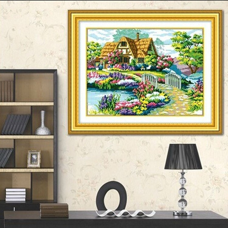 N59*45cm Needlework Cross stitch,Sets For Embroidery kits,scenery clock home decro Counted Cross-Stitching,factory direct sale