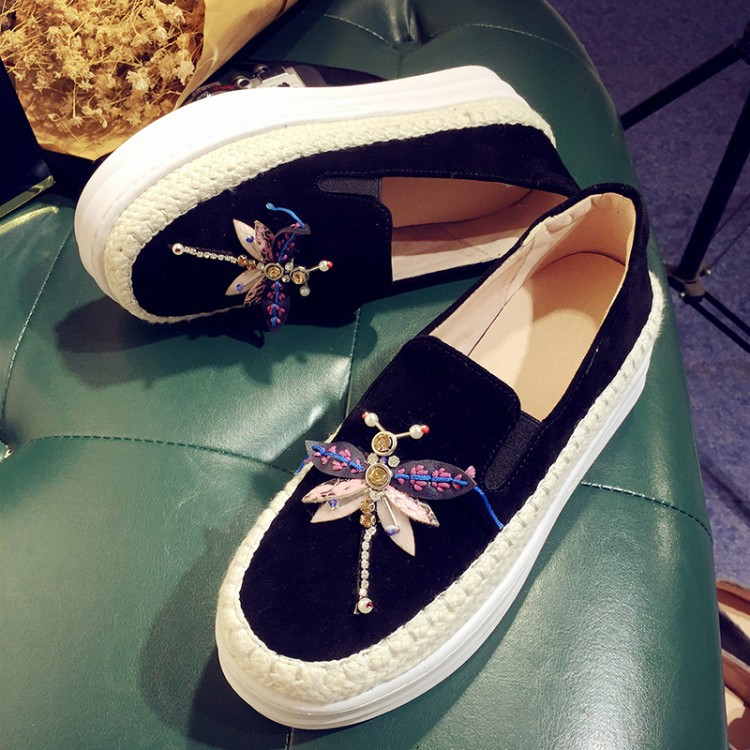 Big Size Women Platform Loafers Crystal Genuine Leather High Quality Pointed Toe Flats Shoes For Women Slipony Women Rhinestone  (33)
