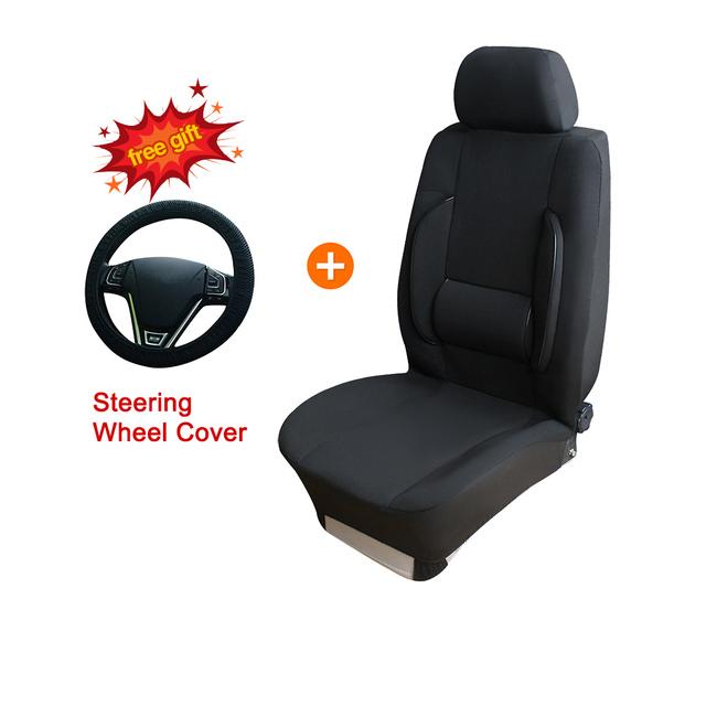 1 Pcs Front Car Seat Covers With Lumbar Support Auto Massage Chair Cushion Pad Black