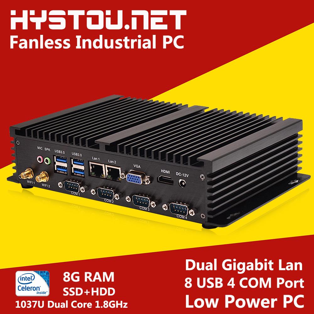 Prix pour Hystou Mini PC Celeron 1037U Fanless Industrielle PC 2G/4G/8G RAM 8G SSD à 1 TB HDD De Stockage Windows XP/7/8 et Linux OS supportés