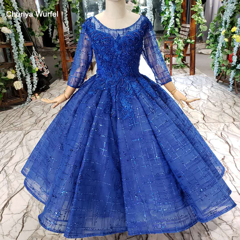 LSS522t Blue Pageant Dresses For Girls O-neck Tulle Sleeves Beaded Ball Gown Girl's Evening Dress Vestidos De Primera Comunion