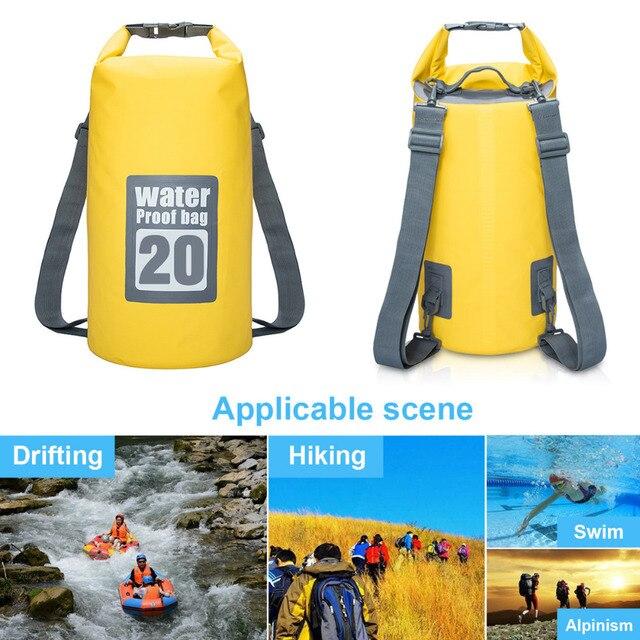 9507ddd3bd 5L 10L 15L 20L Waterproof Dry Bag Water Resistant Swimming Bag Pack Sack  Rafting Kayaking Camping Floating Sailing Canoeing