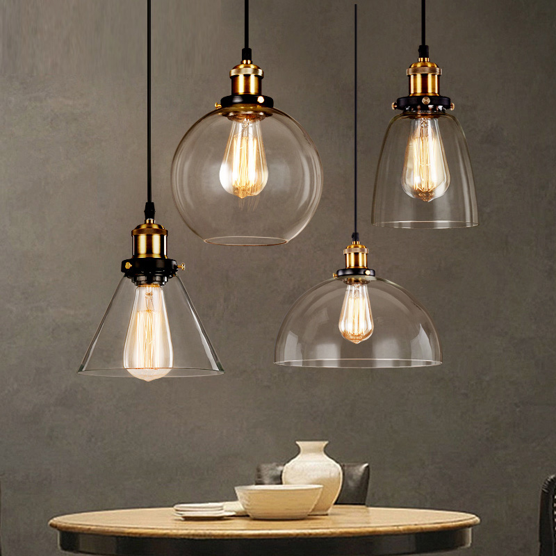 Loft rh vintage pendant lights glass industrial pendant for Suspension metal cuisine