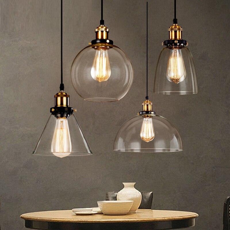 Loft RH Vintage Pendant <font><b>Lights</b></font> Glass Industrial Pendant Lamps Metal Retro Lustres Hanging Fixtures luminaire suspendu E27 D98