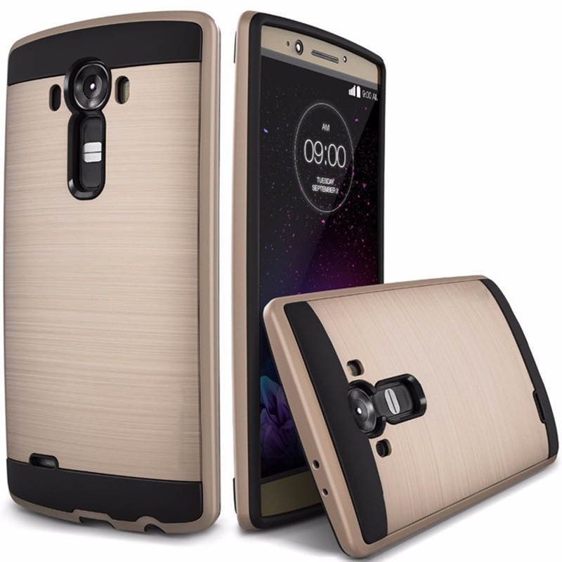 Luxury Tough Slim Brushed Durable Armor Phone Case for LG G4 H815 Hybrid Hard Plastic+ Soft TPU Shockproof Back Cover for LG G 4 image