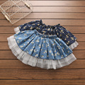 Sweet Kids Girls Floral Print Vintage Denim Tule Skirts Ruffles Classic Cute Children Skirts Wholesale