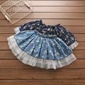 Sweet kids girls floral print vintage denim faldas de volantes tule clásico lindo faldas de los niños al por mayor