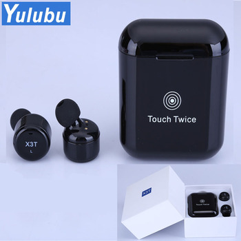 Yulubu Hot X3T TWS Bluetooth 4.2 Touch Earphones Wireless With Microphone Mini Headsets for Charging Room for Iphone 6 7 8 Sony
