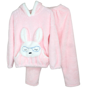 Image 2 - JULYS SONG Autumn Winter Pajamas Women Pajama Sets Flannel Pink Rabit Cartoon Thick Warm Women Sleepwear Cute Animal Homewear