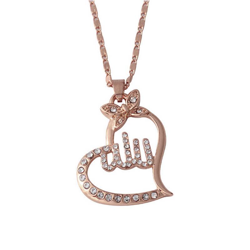 Gorący bubel złoty kolor muzułmanin Islam naszyjniki dla kobiet mężczyzn długie łańcuchy Ice Out kryształ Allah naszyjnik i wisiorek
