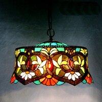 18 дюймов Тиффани барокко пятнистости Стекло подвесной светильник E27 110 240 В цепи подвесные светильники для домашнего кафе Обеденная