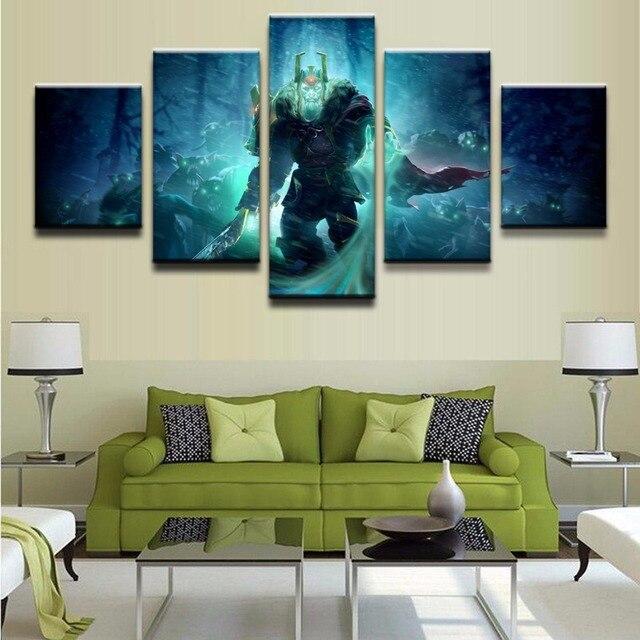 Canvas Art Modern Framework Paintings Decor 5 Panel DOTA 2 Wraith King HD Printed Wall Modular