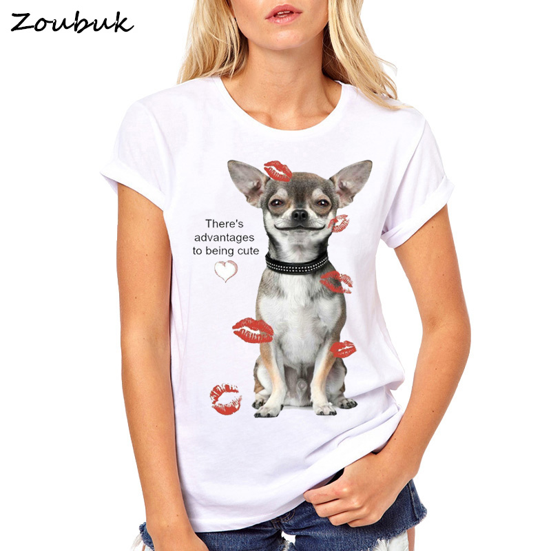 There's Advantages to Being Cute   T     Shirt   Women Chihuahua lovers print TShirt funny dog design lovely girl   t  -  shirt   Tees