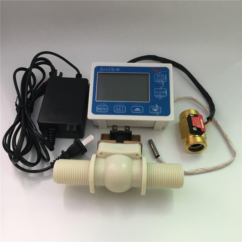ZJ LCD M flow meter controller with 3 4 valve flow sensor 3 4 power supply