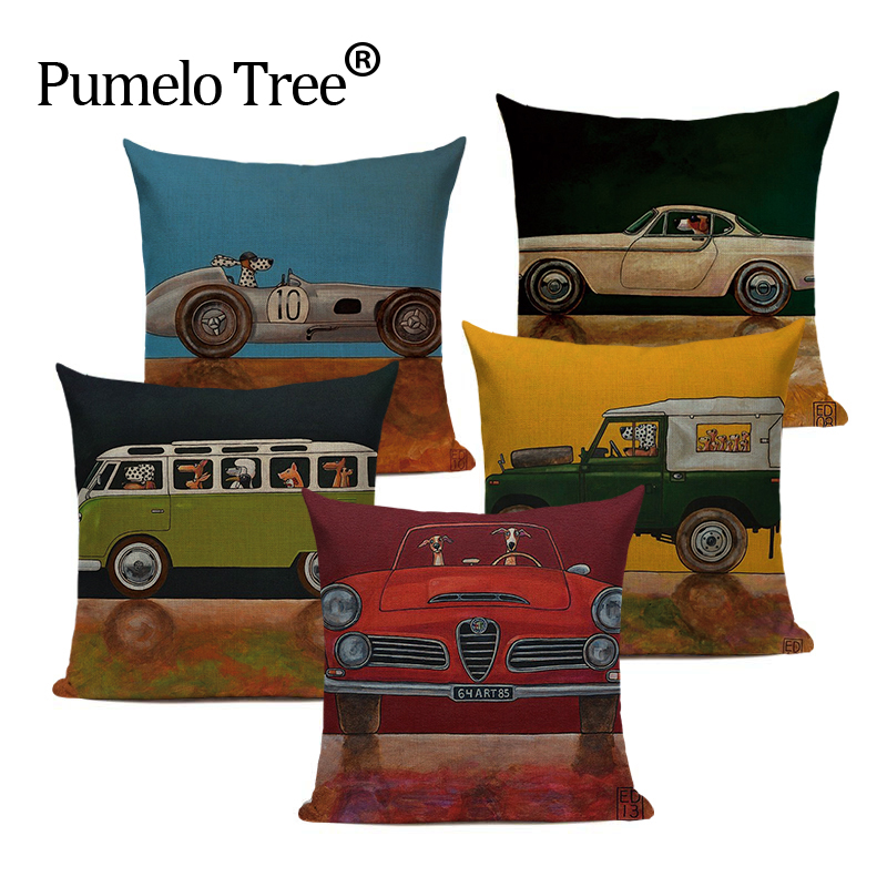 Zipper Watercolour anime Style Woven retro car Cartoon Dog Pillow 45Cmx45Cm Square Sofas Printing Pillow Cover Cushion Case