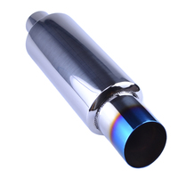 Universal Fit Muffler Exhaust Polished Stainless Steel W Burnt Tip And Silencer 2 0 Inlet To