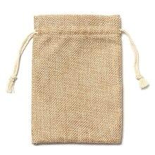 5шт Винтаж мешковина джут мешки свадьбы пользу подарок сумки шнурки