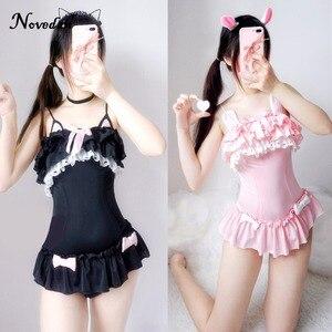 Image 1 - Um pedaço maiô bonito sexy cosplay traje feminino bonito preto gato & coelho em pó maiô verão sukumizu evangelion