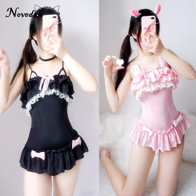 Um pedaço maiô bonito sexy cosplay traje feminino bonito preto gato & coelho em pó maiô verão sukumizu evangelion