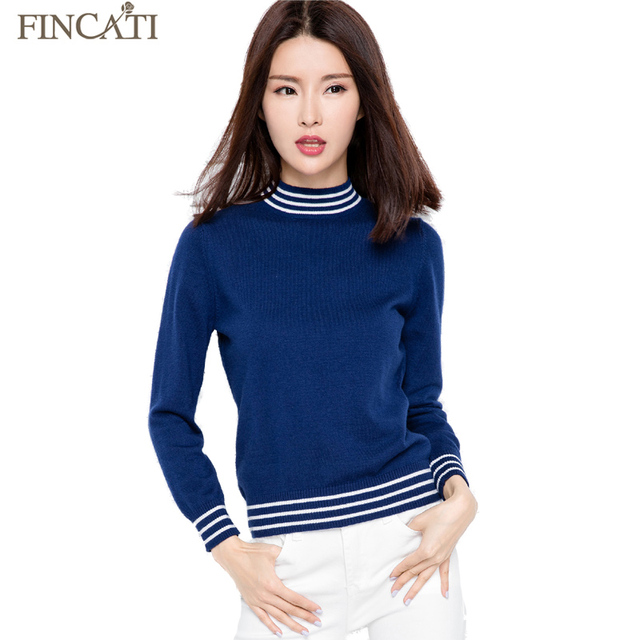 2017 Autumn Winter Long Sleeve Strips Knitted Soft High Stretched Cashmere Blending Women Sweaters Pulls Femme Pullover