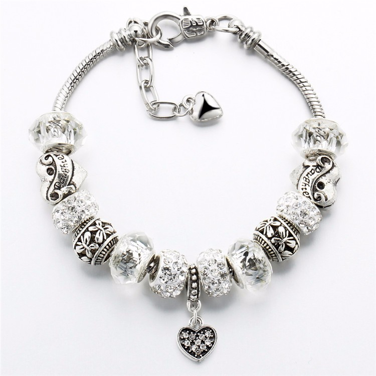 17KM Vintage Silver Color Charm Glass Bracelets For Women 17 New Crystal Heart Beads Bracelets & Bangles Pulseras DIY Jewelry 38