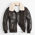 2016 Men's Leather Jacket Flight Suit Genuine Leather Jacket A2 Air Force Jacket Short Coat Sheep Skin Wool Collar Plus Size