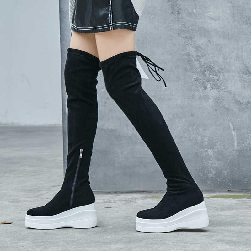 2018 yeni varış yuvarlak ayak akın kama platformu kadın over-the-diz çizmeler zarif mujer artan pist rahat kış ayakkabı L39
