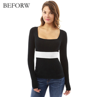 BEFORW Autumn Casual T Shirt Square Collar Fashion Tees Femme Shirt Long Sleeve Solid Sexy Hot