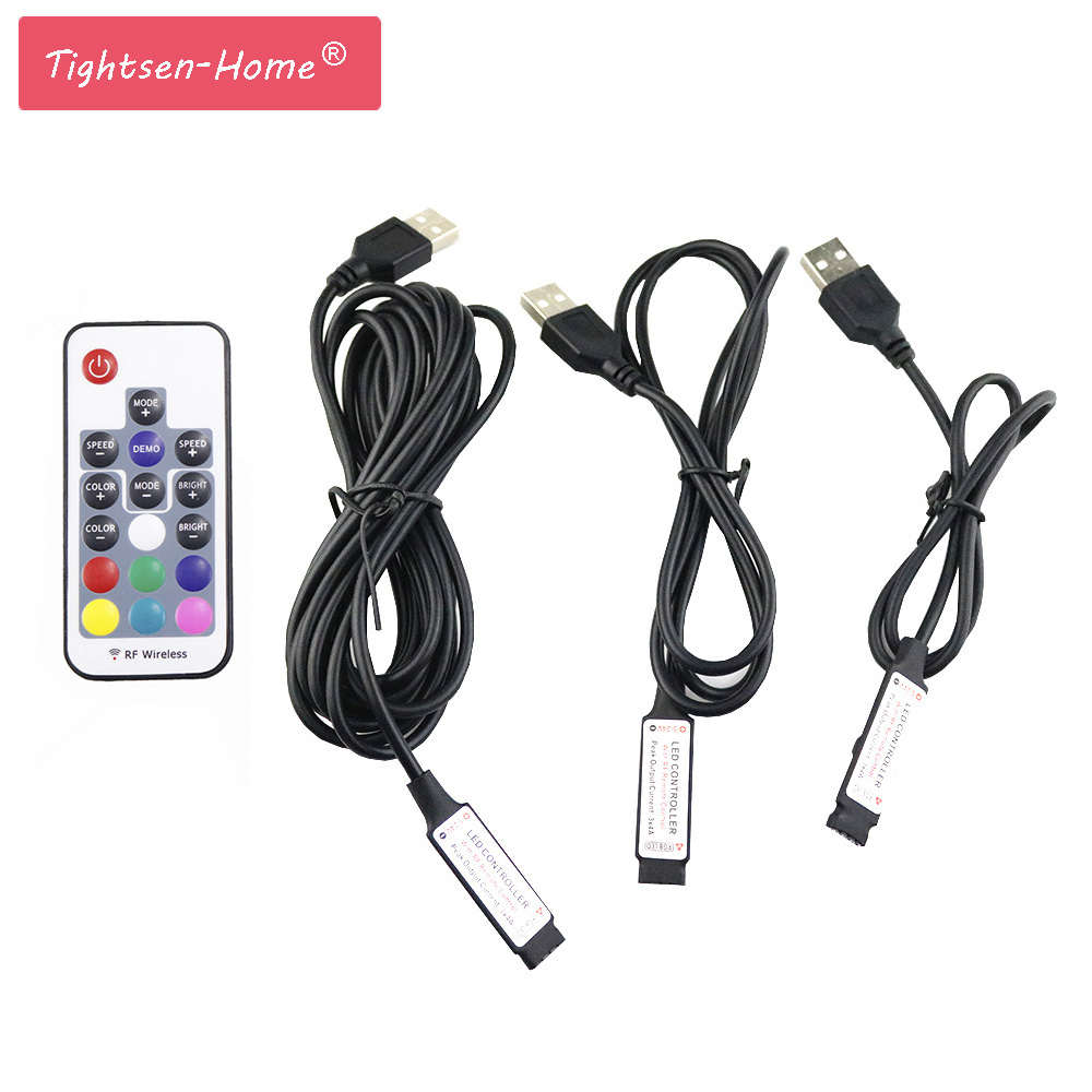 0.5M 1M 3M 5V USB LED Controller RGB 17key 12A RF Wireless Mini Remote Controller For Rgb SMD 3528 5050 Led Strip Tape Lighting