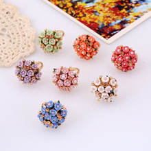Women's Beautiful Adjustable Ring with Colorful Flower Themed Decoration