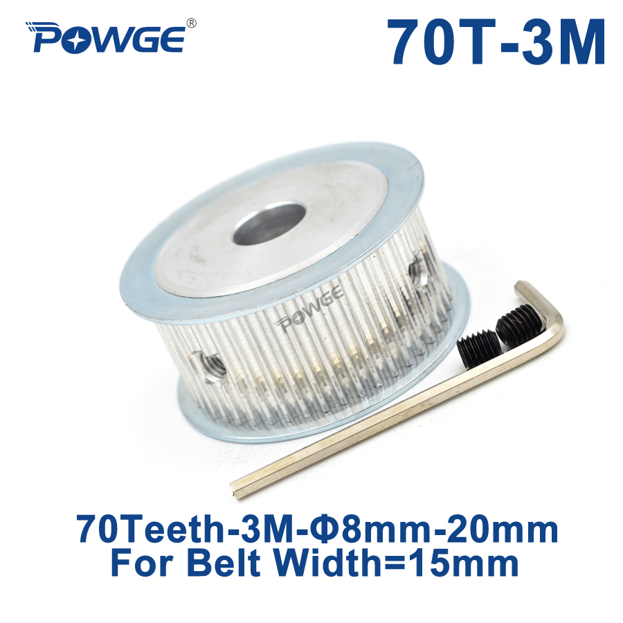 POWGE 70 Teeth HTD 3M Timing Pulley Bore 8/10/12/14/15/16/19/20mm for Width 15mm HTD3M Synchronous Belt gear wheel 70T 70Teeth все цены