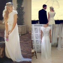 New Hot Scoop Neckline Short Sleeves Beaded Beach Wedding Dresses Chiffon with Lace Sash Column Sweep Train Bridal Gowns