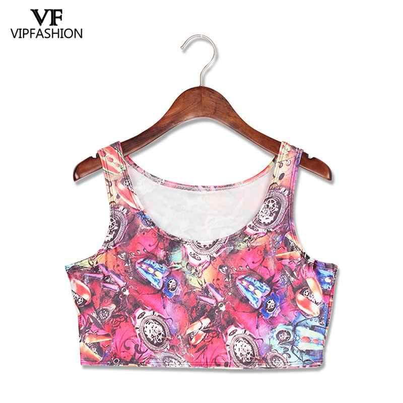 VIP FASNHION NEW ARRIVAL Crop Top dziewczyna kobiety Cartoon kobiety drukuj tank tops mieszane komiksy Cartoon kolorowe koszulka bez rękawów z