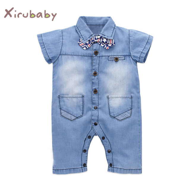 20bcca9fce16 Xirubaby 2017 Spring Denim Baby Romper Newborn Boys Gentleman Tie Jumpsuit  Infant Cowboy Playsuit Clothes Bebe Boy Jeans Costume