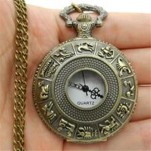 Retro Fashion Large Holes Twelve Zodiac Hollow Quartz Pocket Watches Men Classic Hanging Watches Ladies Sweater Chain WatchHP36