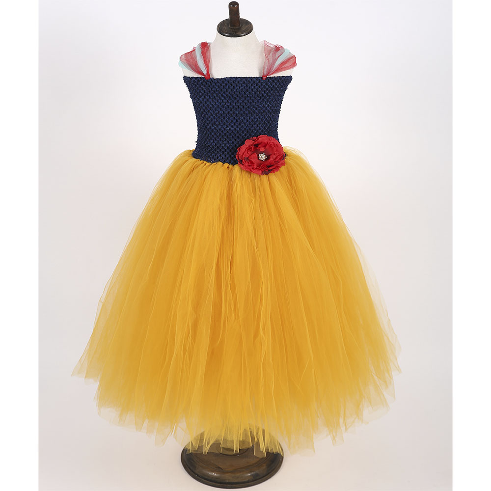 Handmade Navy Blue Girl Tutu Dress Red Flower Girls Birthday Party Snow White Cosplay Tutu Dresses For Princess Halloween Custom girl navy blue princess dress kimono dress cute princess tutu dress