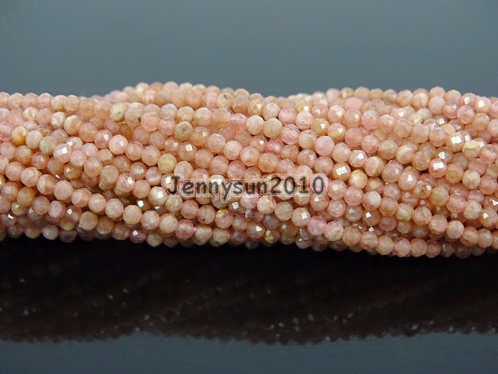 Grade AAA Brilliant Cut Shining Natural AA Rhodonite Gems Stones 2mm Faceted Round Beads 15 Jewelry Making 2 Strands/Pack