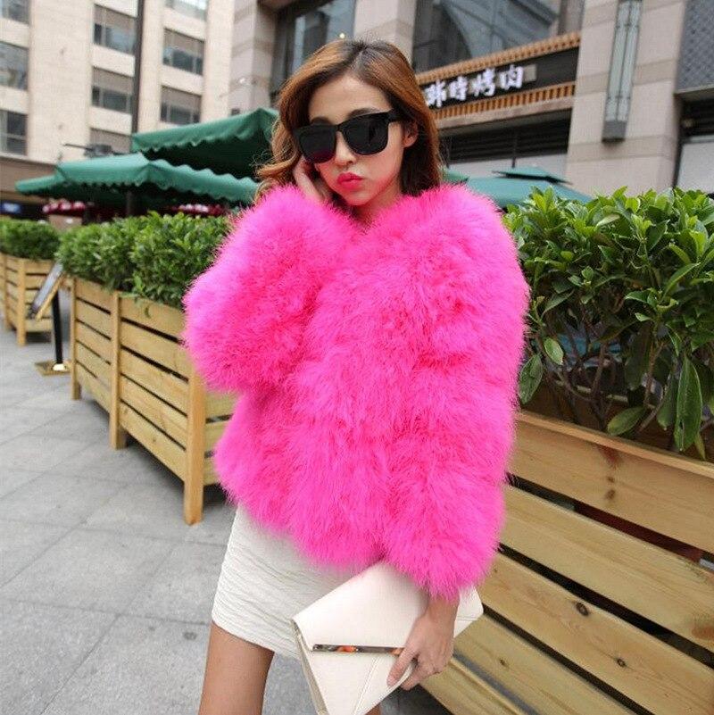 Haute qualité femmes vraie fourrure manteau véritable autruche plume haussement court hiver veste naturelle autruche fourrure manteaux femelle Z257