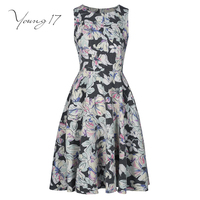 Young17 Casual Girl Dress Black Patchwork Sleeveless Print Floral Fashion Beauty Sexy Elegant Sexy New Zipper