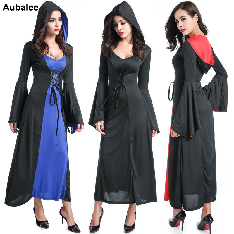Female Vampire Halloween Costumes For Women Vintage Witch Cosplay Hoodie Victorian Long Dress Purim Vampire Costumes